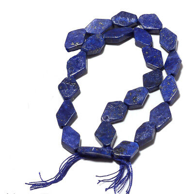 (eH7612) LAPIS LAZULI  7 inch (17,5 cm) Hand Carved diamond beads 5x9mm Old Stoc