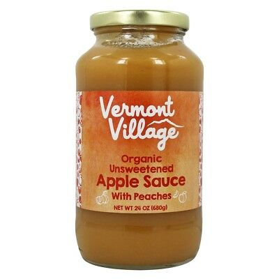 Vermont Village - Organic Apple Sauce Unsweetened with Peaches - 24 oz.