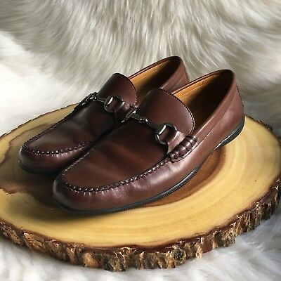 d8f75c8c5ed Peter Millar Horse Bit Loafers Mens Size 8 M Brown Leather Driving Moccasin