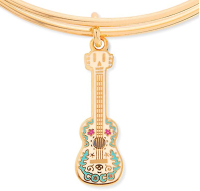 NEW Disney Parks ALEX AND ANI Coco Guitar Charm GOLD Bangle Bracelet