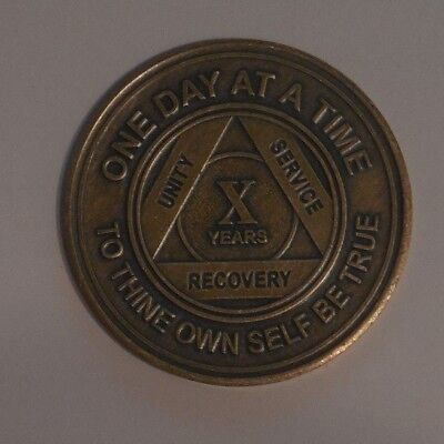 aa bronze alcoholics anonymous 10 year sobriety chip coin token medallion