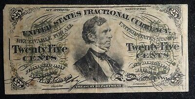 1863 25 Cent US Fractional Currency F-1294 Third Issue