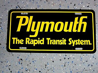 Plymouth RAPID TRANSIT license plate car tag ROAD RUNNER GTX BARRACUDA DUSTER
