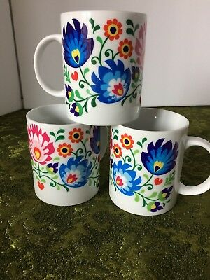 Lot of 3 floral coffee mugs made in Poland