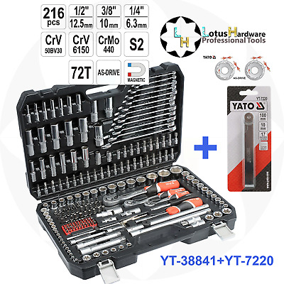 "Ratchet Socket Set 1/2"" 3/8"" 1/4"" 216pcs Toolbox AS-DRIVE Yato YT-38841+YT-7220"