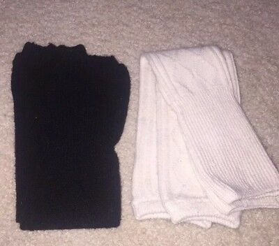 womens leg warmers lot of 2 white and black OS