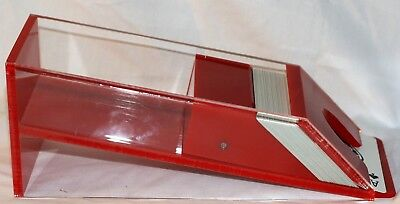 Scarce Red/Clear Acrylic 6 Deck Poker Dealer Shoe Dispenser Good used condition
