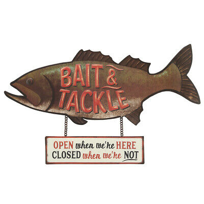 Bait & Tackle Rustic Embossed Metal Sign
