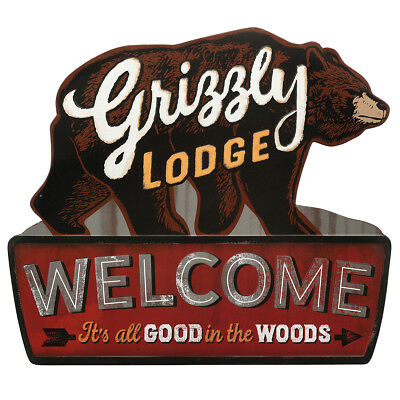 Grizzly Lodge Rustic Embossed Metal Sign