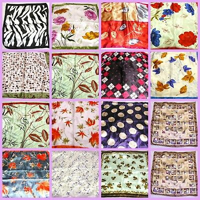 $0.99 each, lot of 12 Women Silk-like Big Satin Square Large Scarf wholesale lot