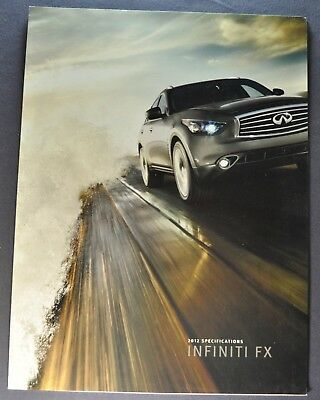 2012 Infiniti FX Specifications Sales Brochure Folder Excellent Original 12