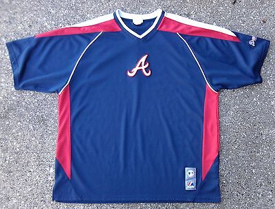 Atlanta Braves Majestic MLB Baseball Shirt ~ Men's XL ~ Blue Red Athletic