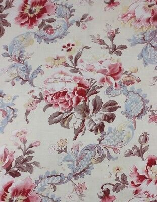 """Antique French Printed Floral & Lace Home Cotton Fabric c1880-1900~23""""LX30""""W"""