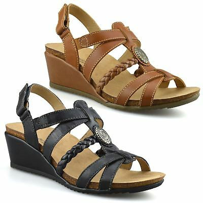 Ladies Womens Leather Mid Wedge Heel Casual Summer Gladiator Sandals Shoes Size