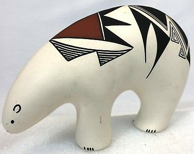 Vintage Signed RV Pueblo Native American Indian Painted Pottery Bear Figure