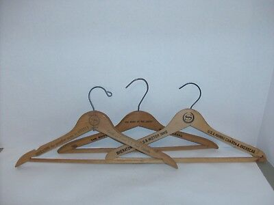 Lot Of 3 Vintage HOTEL Advertising Wood Wooden Coat Cloth Hangers Hawaii +++