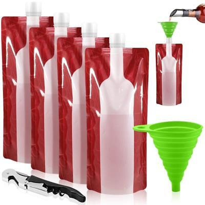 Foldable Wine Plastic Bottle Bag Collapsible Pouch 4 Pack Liquid Leakproof Red
