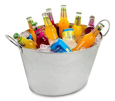 LIVIVO ® Galvanised Steel 24L Drinks Ice Cool Bucket - Ideal for Parties,...