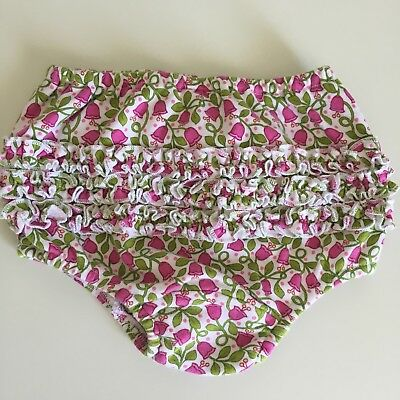 Vera Bradley Baby Girls Diaper Cover 6-9 Months Pink Green Floral Flowers EC