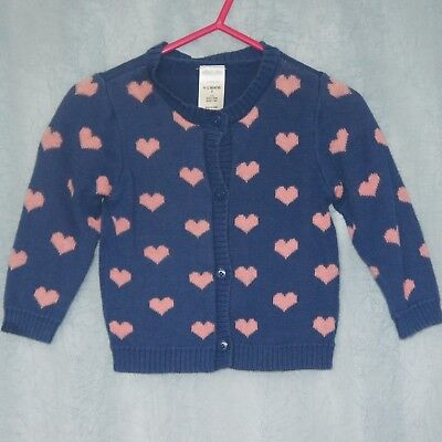 TINY LITTLE WONDERS Baby Girls Cardigan, Size 0, Blue with Pink Hearts, Cute