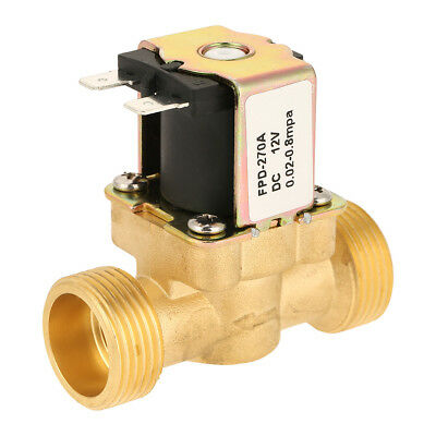 N C 3 4 inch NPSM 12V DC VDC Slim Brass Electric Solenoid Valve Gas Water Air EB