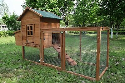 80'' Wooden Chicken Coop Rabbit Pet Hutch Hen House  Nest Box Pet Run Cage Large