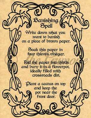 Banishing Spell, Book of Shadows Spell Page, Wicca, Witchcraft, Pagan, Occult