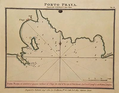 Antique Map PORTO PRAYA Praia Cape Verde Hand Colored Luffman Select Plans 1801