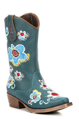 Blazin Roxx Girl's Boots Sage Floral Embroidery On Turquoise Size 3