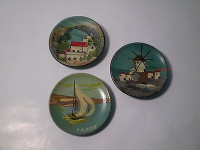 Unique Collection of 3 Greek  Handmade HandPainted Plates 65mm Decorative .