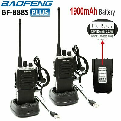 2 x Baofeng BF-888S Walkie Talkie UHF 2 Way Long Range Radio + UV-5R Earpiece UK