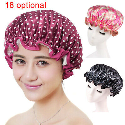 Thick Women Shower Caps Double Layer Bath Shower Hair Cover Adults Waterproof