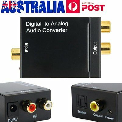 Digital Optical Coax Coaxial Toslink to Analog Audio Adapter RCA Cable Converter