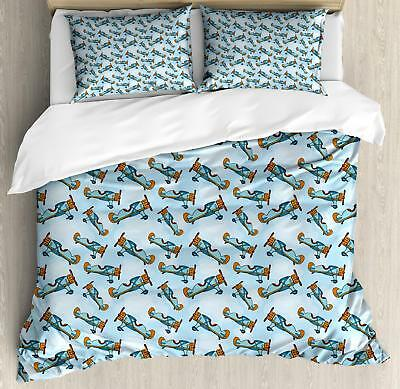 Airplane Duvet Cover Set Twin Queen King Sizes Pillow Shams Bedding Decor