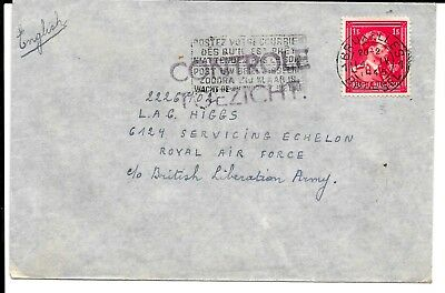 BELGIUM 1945 CONTROLE COVER TO MR HIGGS C/o BRITISH LIBERATION ARMY