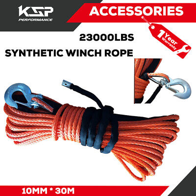 """X-BULL 2/5""""x100ft Synthetic Winch Rope Line Orange Recovery Cable 23000LBS 4WD"""