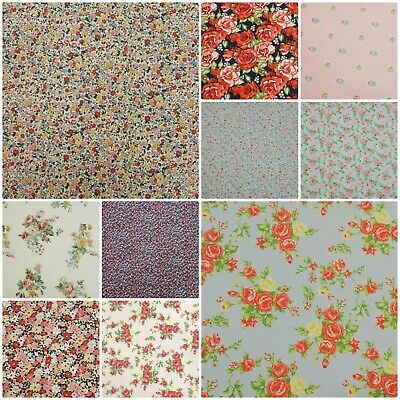 100% Cotton Poplin Vintage Tea Dress Rose Floral Dress Making Fabric Material