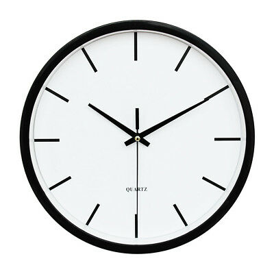 Large Round Wall Clock Numeral Quartz Battery Operated Easy Read 10'' Black