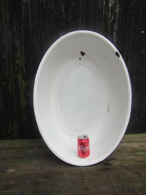 Vintage Tin Bath Enamel Bowl Baby Bath Enameled  Free Postage Cool Beer Ice