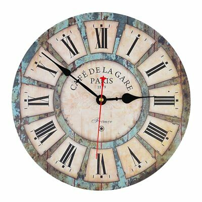 "12"" Wood Wall Clock Vintage Battery Roman Numeral Pairs Rusted Metal Art Decor"
