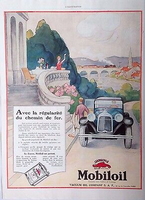 vintage advertising original 1920s MOBILOIL VACUUM ART DECO GARGOYLE AD GEO HAM