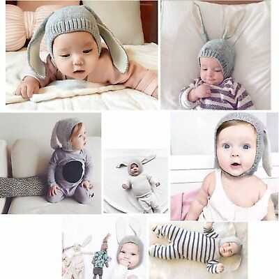 Winter Baby Toddler Kids Boy Girl Knitted Rabbit Crochet Ear Beanie Warm Hat OP