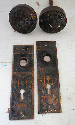 Antique Brass Eastlake Door Knob Backplate Set Brass Victorian