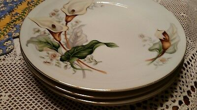 """SIX Ivory China Made in Japan Meito  Vintage 7 1/2"""" Salad Plates Lilly Pattern"""