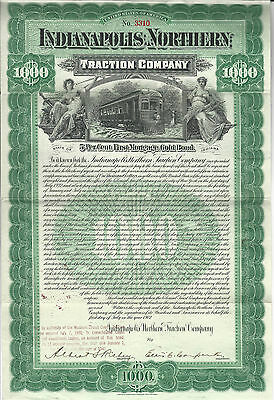 1902 INDIANA Indianapolis Northern Traction Co  Bond Stock Certificate