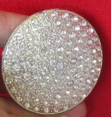 """Vintage Large 2 - 1/8"""" silver tone Metal w Rhinestones Button -  very sparkly"""