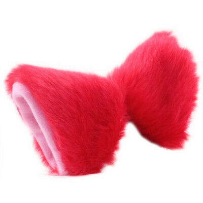 Cat Fox Long Fur Ears Anime Neko Costume Orecchiette Hair Clip Party Red + Y2O8