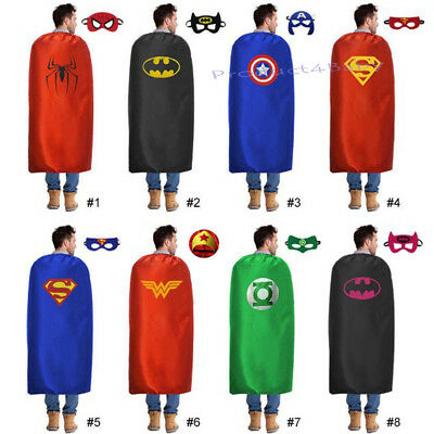 Adults Superhero Capes & Masks Costume Set Party Dress Up Super Hero 90cm*140cm