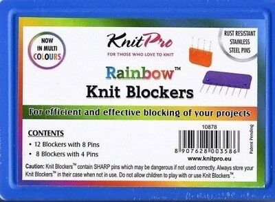 KnitPro rainbow knit blockers 20 pieces rust resistant stainless steel