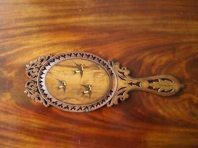 ANTIQUE 1800's GRAND TOUR SORRENTO WARE BEAUTIFUL INLAID OVAL HAND MIRROR